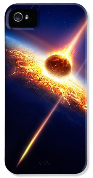 Earth In A  Meteor Shower IPhone 5 Case by Johan Swanepoel
