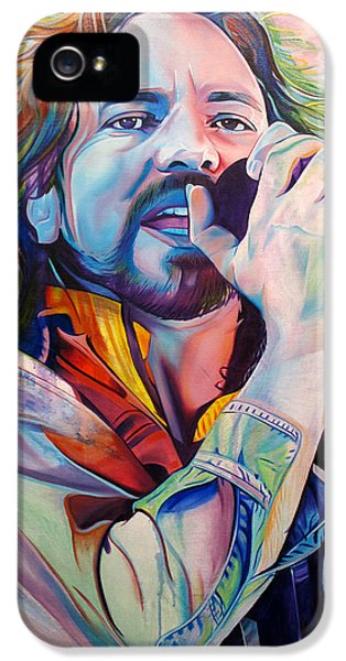 Seattle iPhone 5 Case - Eddie Vedder In Pink And Blue by Joshua Morton