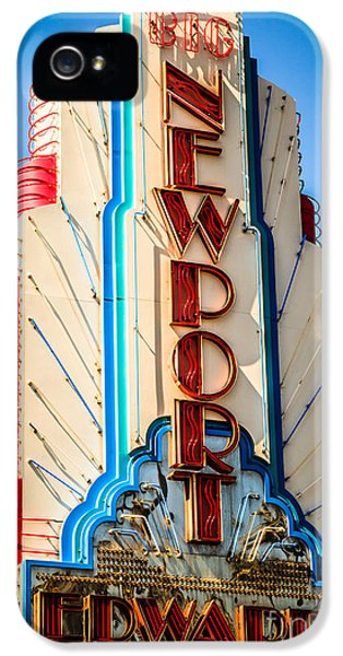 Edwards Big Newport Theatre Sign In Newport Beach IPhone 5 Case by Paul Velgos