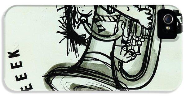 Trombone iPhone 5 Case - Eeeeeeek! Ink On Paper by Brenda Brin Booker