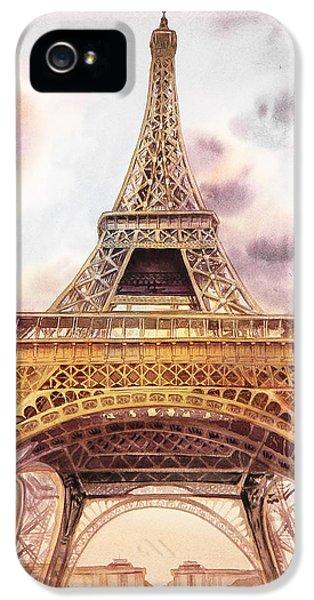 IPhone 5 Case featuring the painting Eiffel Tower Vintage Art by Irina Sztukowski