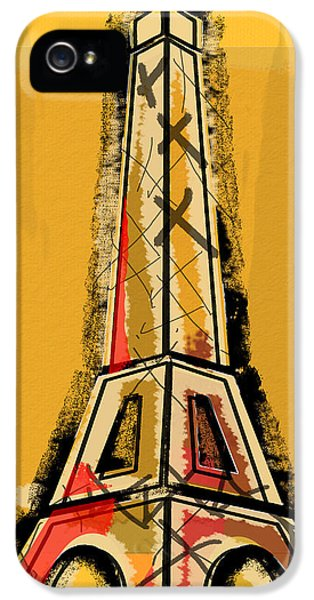 Eiffel Tower Yellow Black And Red IPhone 5 Case by Robyn Saunders