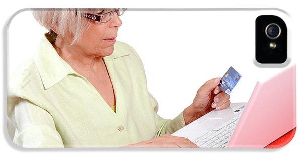 Elderly Woman Shopping Online IPhone 5 Case by Aj Photo