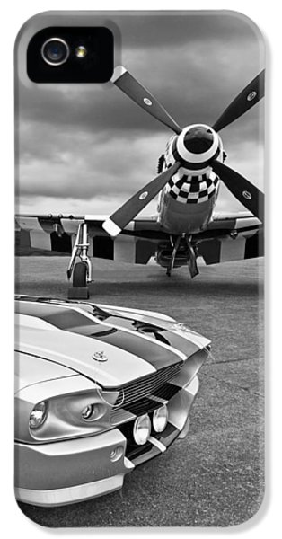 Eleanor Mustang With P51 Black And White IPhone 5 Case by Gill Billington
