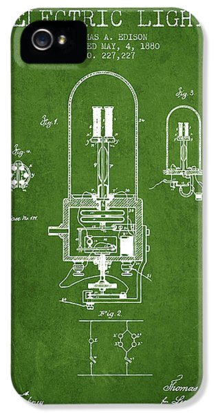 Electric Light Patent From 1880 - Green IPhone 5 Case