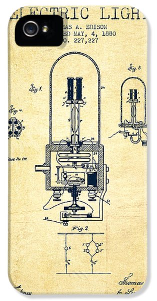 Electric Light Patent From 1880 - Vintage IPhone 5 Case