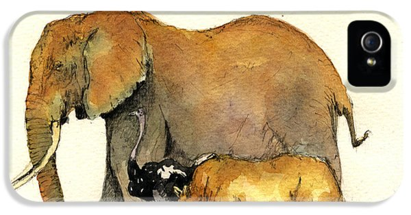Elephant Ostrich And Rhino IPhone 5 Case by Juan  Bosco