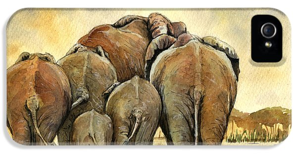 Elephants Herd IPhone 5 Case by Juan  Bosco