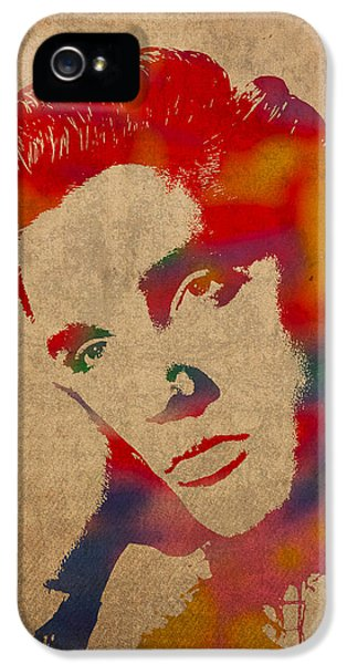 Elvis Presley Watercolor Portrait On Worn Distressed Canvas IPhone 5 Case by Design Turnpike