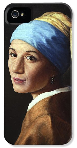 Erika With A Pearl Earring IPhone 5 Case by James W Johnson