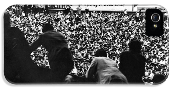 Fans In The Bleachers During A Baseball Game At Yankee Stadium IPhone 5 Case by Underwood Archives