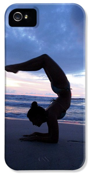 Breathe iPhone 5 Case - Female Performs Yoga On Beach Near Water by Peter McBride