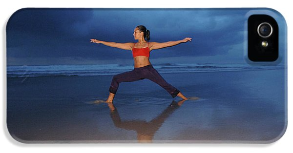 Breathe iPhone 5 Case - Female Performs Yoga On Beach by Peter McBride