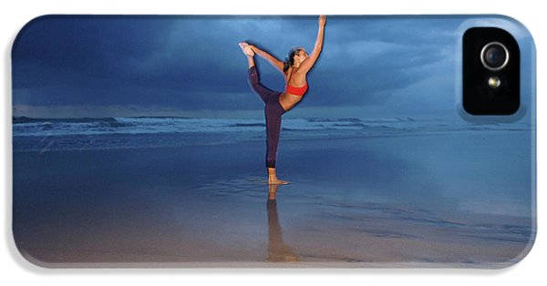 Breathe iPhone 5 Case - Female Performs Yoga On The Beach by Peter McBride