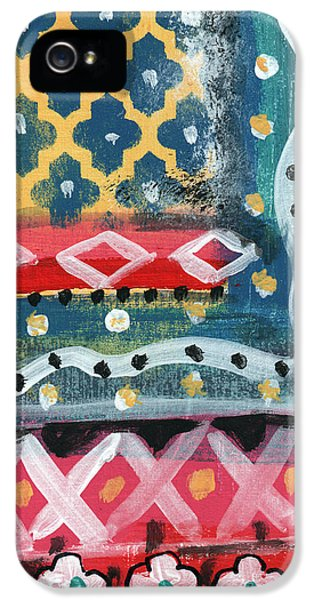 Fiesta 4- Colorful Pattern Painting IPhone 5 Case by Linda Woods