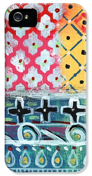 Cross iPhone 5 Case - Fiesta 6- Colorful Pattern Painting by Linda Woods