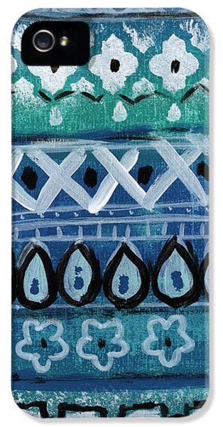 Fiesta In Blue- Colorful Pattern Painting IPhone 5 Case by Linda Woods