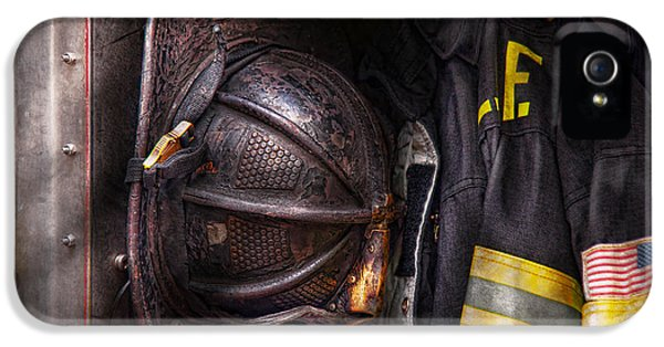 Fireman - Worn And Used IPhone 5 Case by Mike Savad