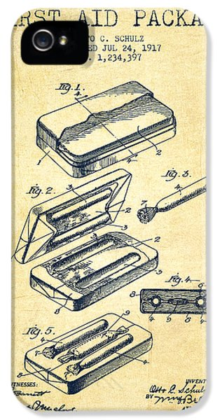 First Aid Package Patent From 1917 - Vintage IPhone 5 Case by Aged Pixel