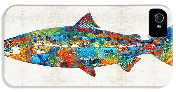 Fish Art Print - Colorful Salmon - By Sharon Cummings IPhone 5 Case by Sharon Cummings