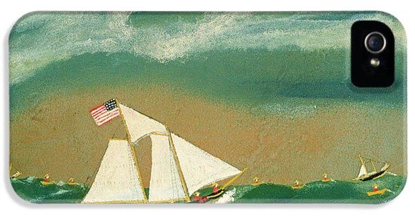 Fishing Schooner Josephine On The Grand Banks IPhone 5 Case by John OJ Frost