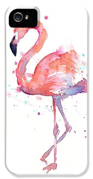 Portraits iPhone 5 Case - Flamingo Watercolor by Olga Shvartsur