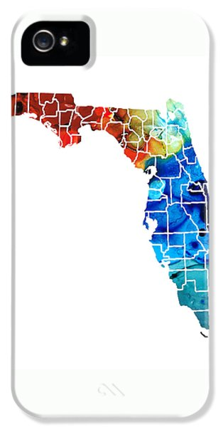 Florida - Map By Counties Sharon Cummings Art IPhone 5 / 5s Case by Sharon Cummings