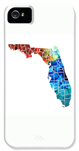 Florida - Map By Counties Sharon Cummings Art IPhone 5 Case by Sharon Cummings