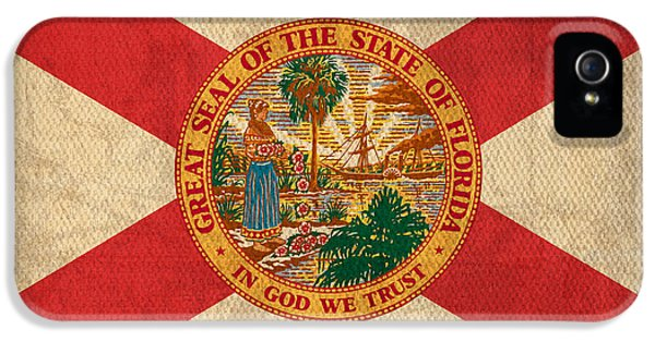 Florida State Flag Art On Worn Canvas IPhone 5 Case