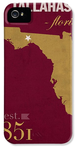 Florida State University Seminoles Tallahassee Florida Town State Map Poster Series No 039 IPhone 5 Case by Design Turnpike