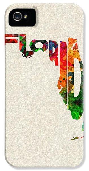 Florida Typographic Watercolor Map IPhone 5 Case