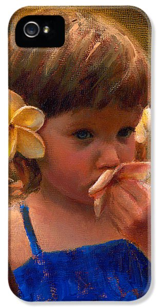 Flower Girl - Tropical Portrait With Plumeria Flowers IPhone 5 Case
