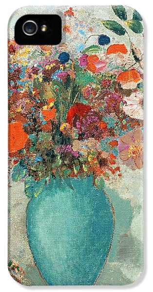 Flowers In A Turquoise Vase IPhone 5 Case by Odilon Redon