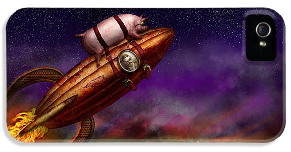 Flying Pig - Rocket - To The Moon Or Bust IPhone 5 Case by Mike Savad