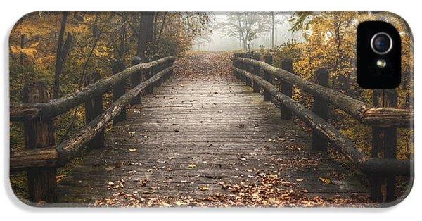 Foggy Lake Park Footbridge IPhone 5 Case by Scott Norris