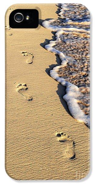 Beach iPhone 5 Case - Footprints On Beach by Elena Elisseeva