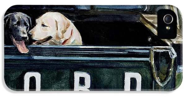Truck iPhone 5 Case - For Our Retriever Dogs by Molly Poole