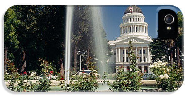 Fountain In A Garden In Front IPhone 5 Case by Panoramic Images