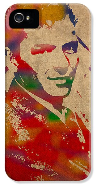 Frank Sinatra Watercolor Portrait On Worn Distressed Canvas IPhone 5 Case by Design Turnpike