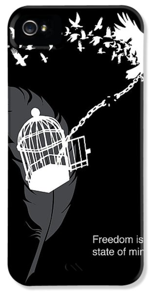 Crow iPhone 5 Case - Freedom Is A State Of Mind by Sassan Filsoof