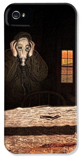 Breathe iPhone 5 Case - Frightened Person In Gas Mask by Jill Battaglia