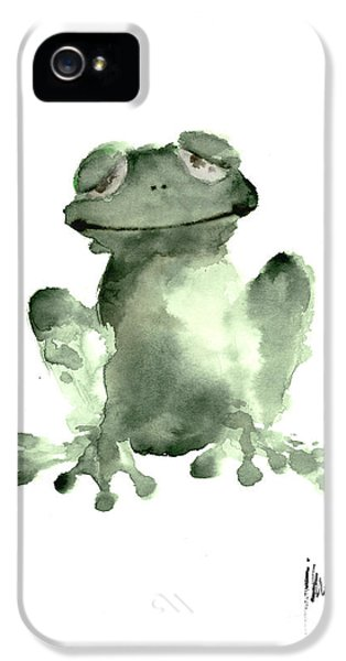 Frog Painting Watercolor Art Print Green Frog Large Poster IPhone 5 Case by Joanna Szmerdt