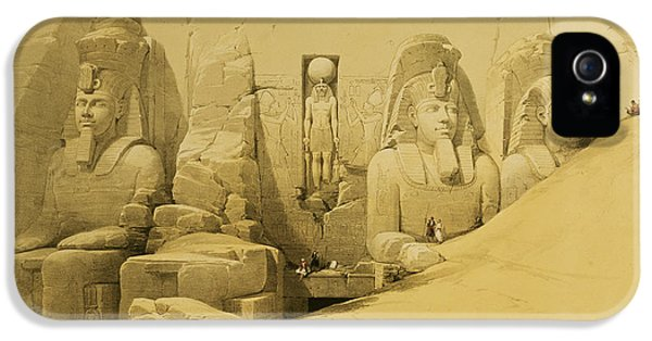 Front Elevation Of The Great Temple Of Aboo Simbel IPhone 5 Case by David Roberts