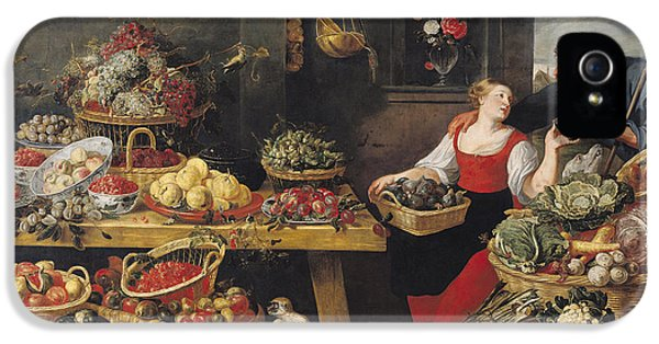 Cauliflower iPhone 5 Case - Fruit And Vegetable Market Oil On Canvas by Frans Snyders
