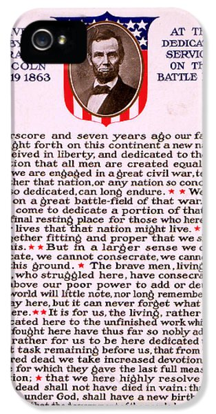 Gettysburg Address By Abraham Lincoln  IPhone 5 Case