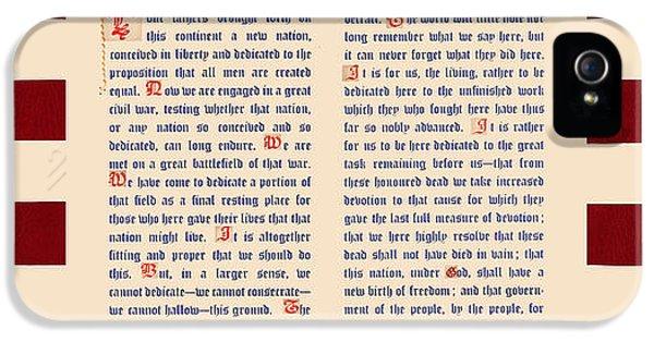 Gettysburg iPhone 5 Case - Gettysburg Address by Gary Grayson
