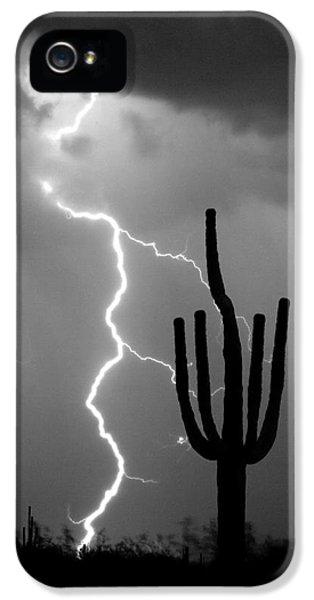 Giant Saguaro Cactus Lightning Strike Bw IPhone 5 Case