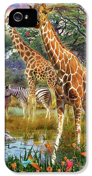 IPhone 5 Case featuring the drawing Giraffes by Jan Patrik Krasny