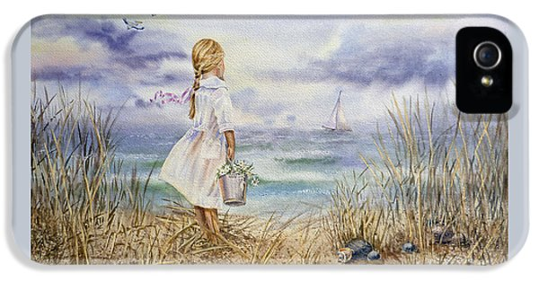Girl At The Ocean IPhone 5 Case by Irina Sztukowski