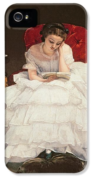 Girl Reading IPhone 5 Case by Alfred Emile Stevens